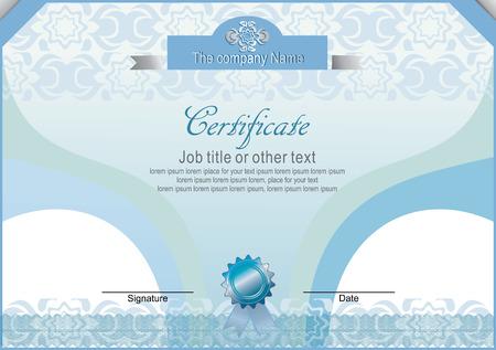 horizontal: Blue horizontal certificate
