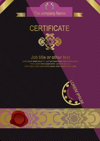 rojo oscuro: Dark red certificate. Vertical black certificate with gold elements