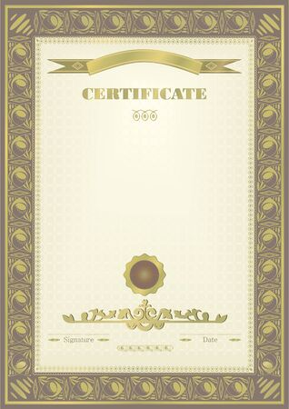 Grey gold frame certificate. Official certificate. There are set elements of design