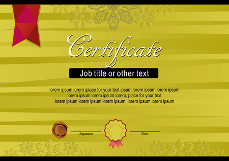 gold certificate of old ribbons with red ribbon royalty free