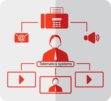 voice mail: Telematics icons. Red logistics icons. Flat icons