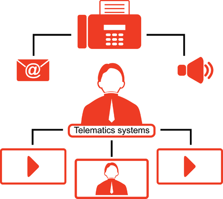 Telematics icons. Red logistics icons. Çizim