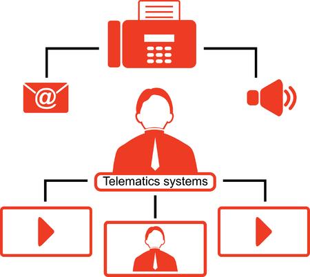 teleconference: Telematics icons. Red logistics icons. Illustration