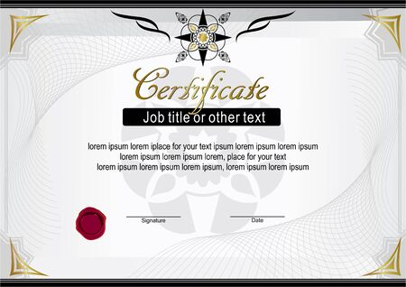 White official horizontal certificate. Modern blank Illustration