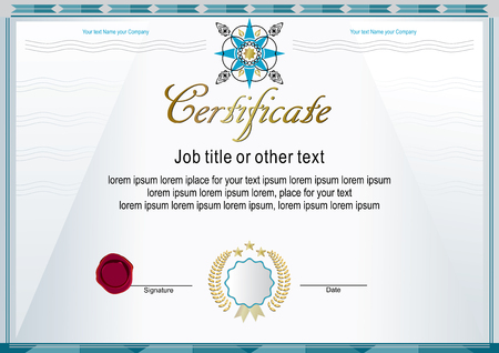White official certificate with modern design elements Illustration