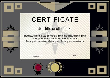 manly: Black official certificate and massive square design elements