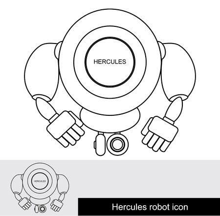 hercules: Thin robot icon. Strong robot on wheels. His name is Hercules Illustration