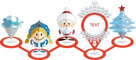 kokoshnik: Christmas map pointer icon. Santa Claus, Snow Maiden, pointer, Christmas tree and pine in a row Illustration