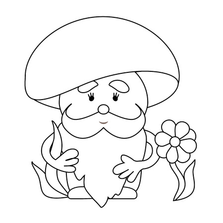 Simple Line Drawing Fabulous Mushroom May Be Use For A Childrens Coloring App