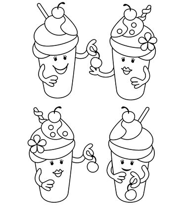 Simple Line Drawing Fabulous Ice Cream With Cherries May Be Use For Childrens Coloring