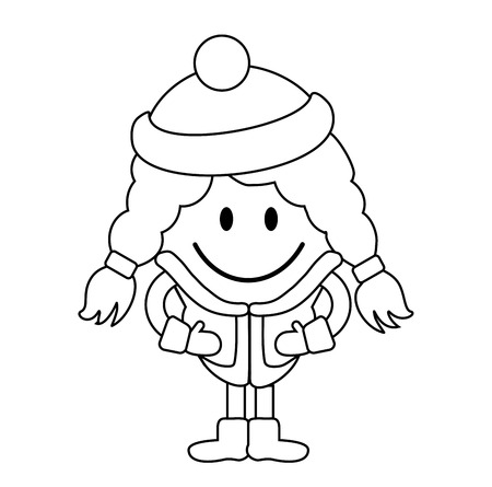 simple girl: Cute little girl in winter clothes. Simple line drawing