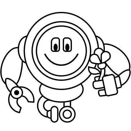 kind: Simple line drawing. Kind robot with flower in his hand