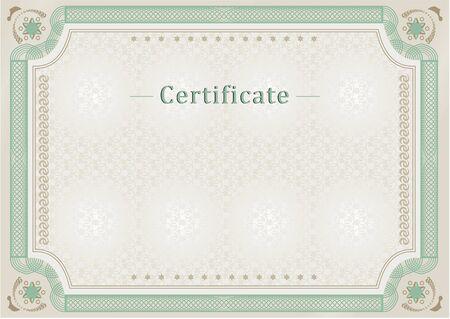 Light green certificate. Official blank