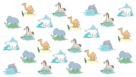 child's drawing: Animals pattern. Childs drawing. Cartoon