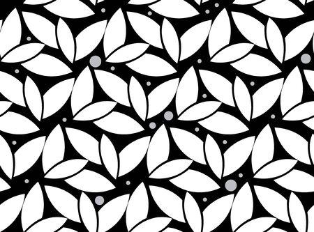 black and white: Black white leaf seamless pattern Illustration