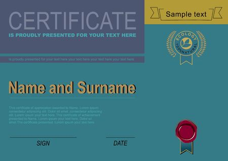 Modern aquamarine certificate. Official blank.