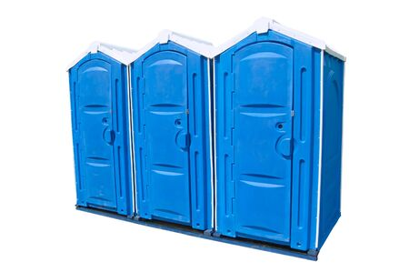 abreast: Three public toilets isolated. Public toilets on the white background Stock Photo