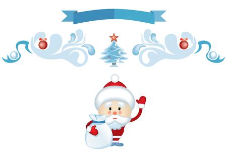 his: Santa waving his hand and takes a bag