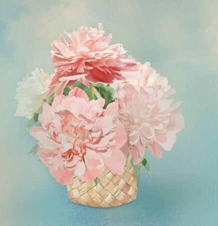 birchbark: Pink peonies in birch-bark basket. Turquoise background Stock Photo
