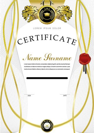 gold leaf: White official certificate. Wafer and floral emblem