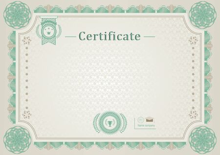 Green beige official certificate. Guilloche border