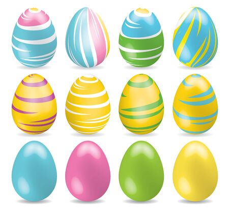 Bright multicolored and one colored Easter Eggs. Set of different Easter eggs with shadow on white background