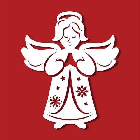 White Christmas Angel on the red background. Silhouette of Angel may use for card, laser. cutting, plotter cutting. Simple drawing for wood carving, printing Illustration