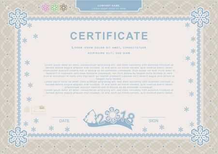 Beige blue official Christmas certificate. XMas official background. Guilloche border with snowflakes