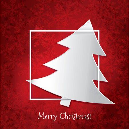 赤い背景に白いクリスマスツリー。クリスマスカード