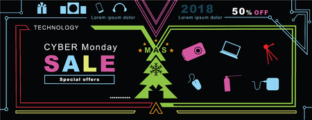 Technology Christmas banner. Cyber ??Monday sale background. Bright neon simple design elements on black background. Special offer