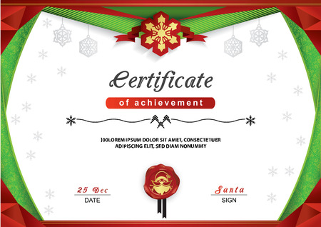 Christmas certificate. Green red border, snowflake emblem on white background. Merry Christmas background with Santa on the red wafer. Triangle design elements