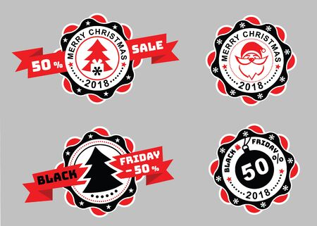 specials: Christmas badges and Black Friday badges with ribbon on gray background. Sale emblems. Portrait of Santa on the badge