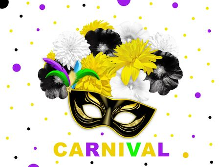 Yellow black bright flowers and black gold carnival mask on white dotted background. Mallow and rudbeckia. Mardi gras banner. Carnival flower banner