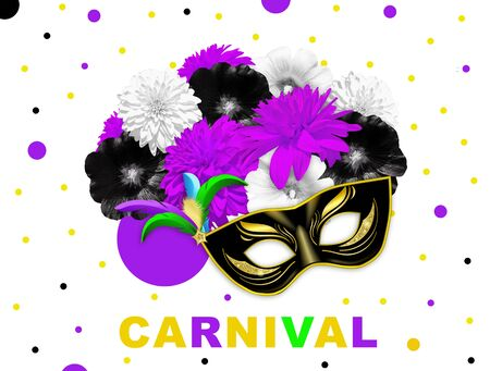 Violet black bright flowers and black gold carnival mask on white dotted background. Mallow and rudbeckia. Mardi gras banner. Carn Zdjęcie Seryjne