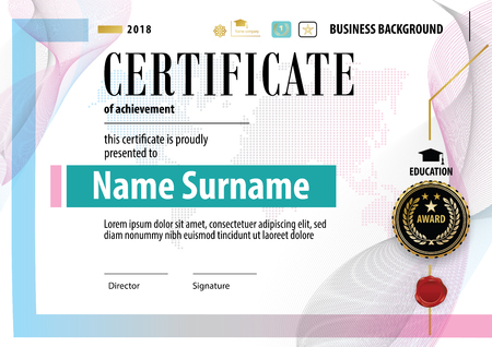 Official Certificate Business Template Gold Black Design Elements