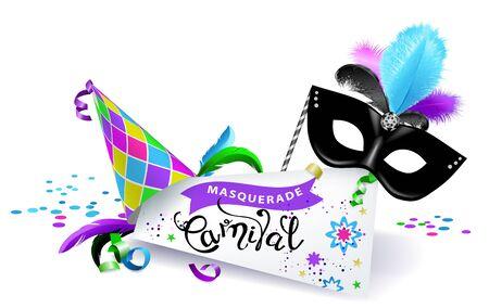 Carnival banner on white background.