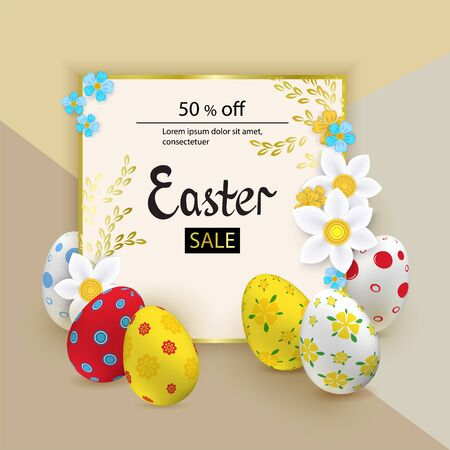 Easter sale design with colorful eggs and flowers