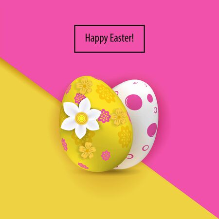 Yellow white two Easter eggs on the pink yellow paper background. Bright Easter card
