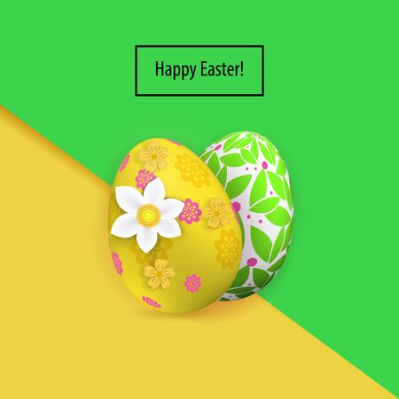 Yellow green two Easter eggs and snowdrip on the pink green paper background. Bright Easter card