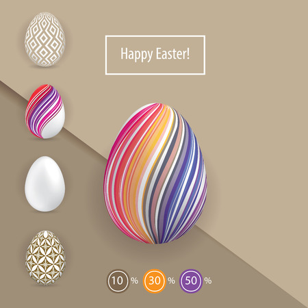 Striped colorful Easter eggs on the beoge paper background. Bright Easter card Reklamní fotografie - 97069614