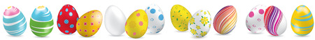 White, yellow, red, striped colorful Easter eggs on the white background. Set of bright Easter eggs.