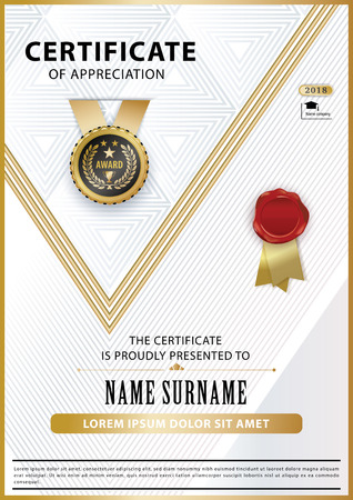 Official white certificate of appreciation award template with gold shapes and black badge, wafer. Tiangle design elelents
