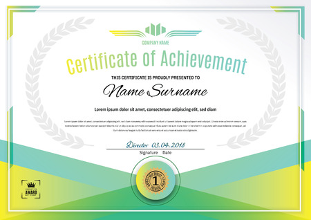 Official white certificate with green triangle design elements. Business clean modern design Illusztráció