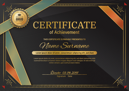 Official black certificate with red black triangle design elements. Gold emblem, gold text. Black vector blank