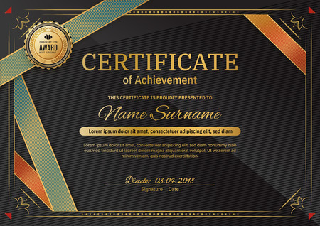 Official black certificate with red black triangle design elements. Gold emblem, gold text