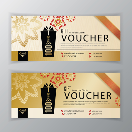 Vector gift voucher template. Universal flyer for business. Clean vector design, black gold design elements. Clean design for department stores, business. Abstract background Иллюстрация