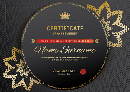 Official black certificate with red black design elements. Gold emblem, gold text on the black circle