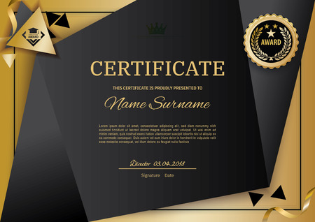 Official black certificate with gold design elements. emblem, gold text. Luxury background