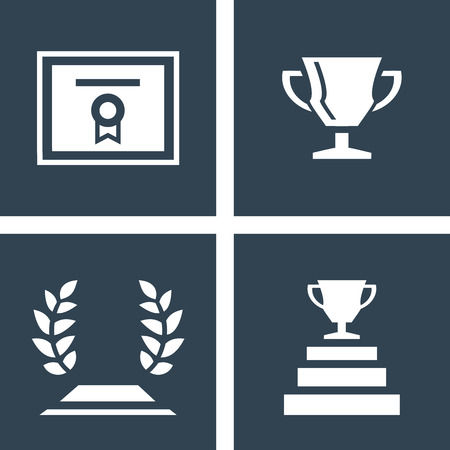 Certificate, trophy cup and laurel flat icons. White icon on dark background. Simple icon inside the square