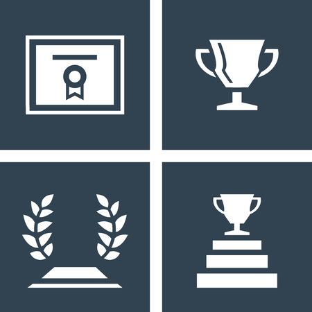 Iconos planos certificado, trofeo y laurel. Icono blanco sobre fondo oscuro. Icono simple dentro del cuadrado